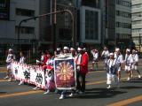 Traditionally dressed group in the kagura parade