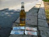 A bottle of Baltika 5 and some local funny money