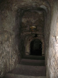 Steps down into the cave church