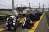 Backpacks on the platform, Kanita Station