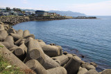 Tetrapods lining the waterfront in Matsumae