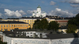 Helsinki Cathedral peeking above the town center