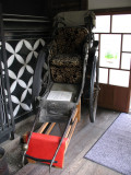 Old rickshaw in a restaurant foyer