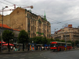 Side of Hotel Moskva with city bus