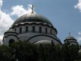 Dome of Sveti Sava peeking over the trees