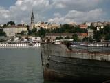 Rusty old ship and Belgrade skyline