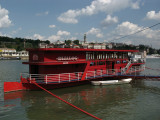 Riverboat restaurant on the west bank of the Sava