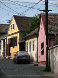 Pastel-colored old houses in a Zemun backstreet