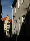 Morning shadows at a street corner