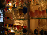 Handblown glassware in a glassblower's shop