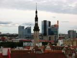 City hall spire with Tallinn's modern towers