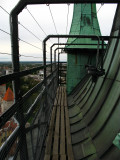 The narrow path around the tower roof