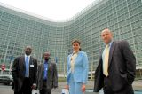 Participants in front of the Berlaymont building that houses the European Commission