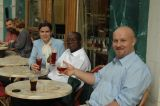 Participants enjoying the Mort Subite beer