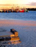 Fishing trawlers by the beach