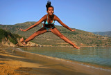 My daughter Eleni at the Chrysi Ammos Beach-Andros