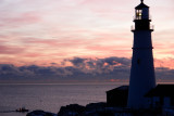 DSC00034.jpg LOBSTERIN THE DAWN at Portland Head LIght a fortuitous moment and light