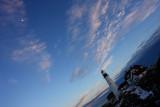 DSC02326.jpg .... 83% MOON hangs over  Portland Head Light at dusk... LAST LIGHT