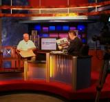 Rich DeGlopper (l) interviewed by Crossroads 13 Pete Anderson (r)