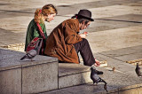 Feeding the pigeons in Lyon