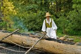 Making a log canoe in Jamestown