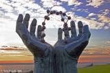 Hands and Molecule Sculpture 1
