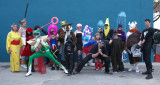 Some of our costumed guests go outside for a group shot !