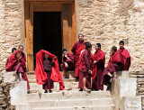 Monks Hanging Out on the Steps