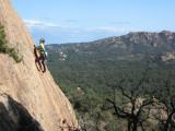 Local lass slab climbing at Solius