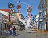 Fallas statues under construction