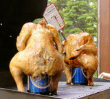 Chicken Cooking on Beer Cans