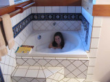 And a cozy soaking tub!