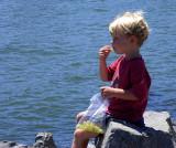 Boy Having Snack In Tiburon, CA