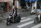 pretty girl on a motorbike in Saigon