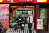 drive motorbike into fast food restaurant