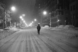 Walking down Central Park West during snow storm. Winter 1968/69