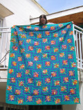 My first quilt - a queen-size maple-leaf quilt made in Cameroon.