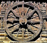 Wheel of Salvation sun dial, Sun Temple, Orissa, India, 13th century