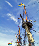 Flags and rigging of the Kalmar Nyckel
