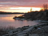 Looking up river from mouth of Store Creek at sunset