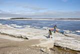 Ice slabs along shoreline at public dock site