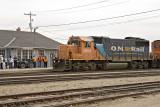 Arrival of mixed train 421 in Moosonee.