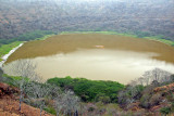 Old salt mine in volcanic crater