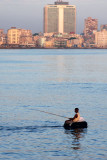 Fishing from a rubber tyre