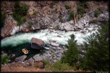 A dizzying view of  Last Chance rapid from the cliff top 200 feet above the river