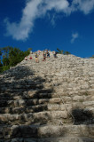 Jumping to the pyramid of Nohoch Mul - Cobá