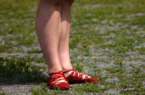 red shoes - feet
