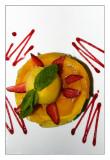 Carpaccio de piña y mango con sorbete de naranja
