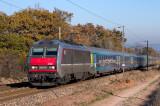 The BB26160 and a Téoz train, heading to Marseille, near Les Arcs-Draguignan.