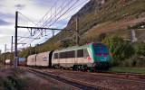 La BB36336 à Montémlian. Cette locomotive peut circuler également sur le réseau italien.